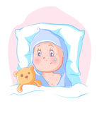 Rash in children. allergy. The child is lying in bed and cry. He is sick royalty free illustration