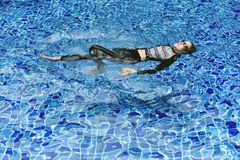 Rash guard swimming suit protect skin from uv sun ray, Woman floating in clear blue swimming pool.