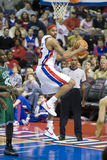 Rasheed Wallace Grabs Rebound. Rasheed Wallace of the Detroit Pistons is comes down with the rebound during a game against the Boston Celtics at the Palace Of Stock Photos