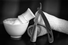 Rasiermesser, das Zubehörrasiermesser rasiert Stockfoto