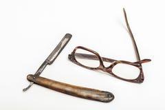Rasiermesser und Gläser Stockbilder