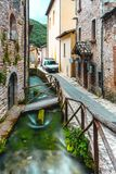 Rasiglia Umbria Riverside Town Italy. Rasiglia is a river-side town in Umbria, Italy. It`s unique in that rivers flow directly through the entire town, packed royalty free stock image