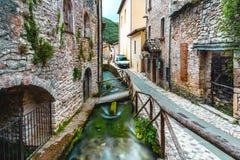 Rasiglia Umbria Riverside Town Italy. Rasiglia is a river-side town in Umbria, Italy. It`s unique in that rivers flow directly through the entire town, packed royalty free stock photos