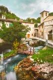 Rasiglia Umbria Riverside Town Italy. Rasiglia is a river-side town in Umbria, Italy. It`s unique in that rivers flow directly through the entire town, packed royalty free stock photo