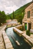 Rasiglia Umbria Riverside Town Italy. Rasiglia is a river-side town in Umbria, Italy. It`s unique in that rivers flow directly through the entire town, packed stock photo
