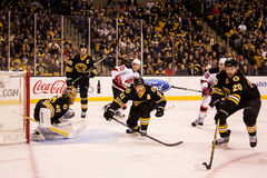 Rask, Ference and Paille, Bruins on defense. Royalty Free Stock Photo