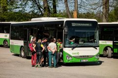 Iveco Crossway bus of 3CSAD company in Beskydy Mountains Stock Images