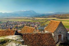 Rasnov从城堡的市视图,特兰西瓦尼亚,罗马尼亚,欧洲 免版税图库摄影