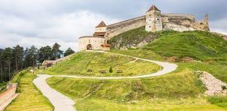Rasnov城堡的全景 免版税库存照片