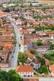 Rasnov市看法从城堡,罗马尼亚的 免版税库存照片