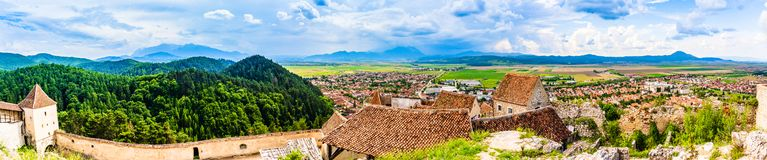 Panorama of Rasnov  town as seen from the walls of the citadel in Rasnov, Brasov County, Transylvania, Romania royalty free stock image