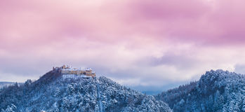 Rasnov citadel panorama in winter season Royalty Free Stock Images