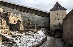 Rasnov Citadel. Râșnov Citadel (Romanian: Cetatea Râșnov, German: Rosenauer Burg) is a historic monument and landmark in Romania. It is situated in Râşnov Royalty Free Stock Images