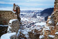 Damaged walls of Rasnov fortress royalty free stock photography