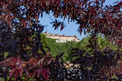 Rasnov fortress from Brasov county, Romania, sits on the highest hill that dominates the Rasnov medieval village, viewed through a stock images