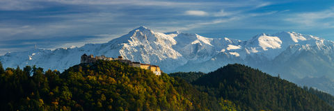 Rasnov fortress and bucegi mountains Stock Image