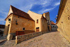 Rasnov fortress, narrow street, Transylvania Stock Photography