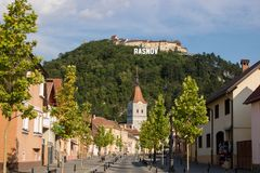 The Rasnov Fortress, Romania stock photography