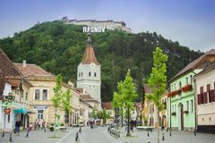 Rasnov old city and fortress on the hill in Romania Royalty Free Stock Photo