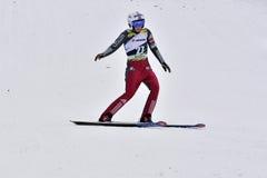 Rasnov, Roemenië - Februari 7: De onbekende skiverbindingsdraad concurreert in FIS Ski Jumping World Cup Ladies op 7 Februari, 20 Stock Fotografie