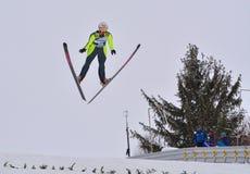 Rasnov, Romênia - 7 de fevereiro: HARALAMBIE Dana Vasilica compete no FIS Ski Jumping World Cup Ladies o 7 de fevereiro de 2015 e Imagem de Stock Royalty Free