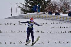 Rasnov, Romênia - 7 de fevereiro: RUPPRECHT Anna compete no FIS Ski Jumping World Cup Ladies o 7 de fevereiro de 2015 em Rasnov,  Imagem de Stock Royalty Free