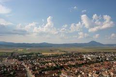 Top view of Rasnov in Romania. stock photo