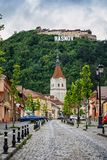 Rasnov, Romania. City in Transylvania. And hilltop ruins of the fortress royalty free stock photography