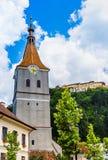 The Evangelical church in Rasnov, Transilvania, Romania stock images