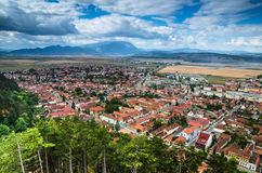 Rasnov, Romania. Scenery with medieval city and Carpathian Mountains, view from fortress hill, Transylvania stock photos