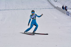 Rasnov, Rumänien - 7. Februar: MALSINER Manuela konkurriert im FIS Ski Jumping World Cup Ladys am 7. Februar 2015 in Rasnov, Ro stockfotos
