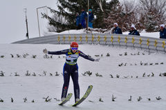 Rasnov, Rumänien - 7. Februar: RUPPRECHT Anna konkurriert im FIS Ski Jumping World Cup Ladys am 7. Februar 2015 in Rasnov, römisc lizenzfreies stockbild