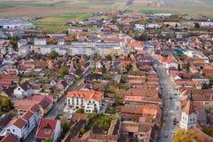 Rasnov-Stadt von der Draufsicht der Zitadelle stockbilder
