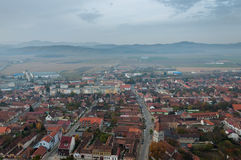 Rasnov. Town, houses and mountains landscape royalty free stock images
