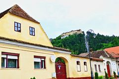 Rasnov town street view Transylvania Romania stock image