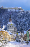 Rasnov town in winter, Romania Royalty Free Stock Photography