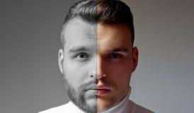Raso contro l'uomo non rasato Dopo che o prima del raso di Metta dell'uomo barbuto Stilista di capelli di stile di capelli per l' immagine stock libera da diritti