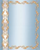 Raso dell'azzurro del bordo dell'invito di cerimonia nuziale Fotografia Stock