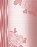 Raso di colore rosa del bordo dell'invito di cerimonia nuziale Fotografie Stock Libere da Diritti