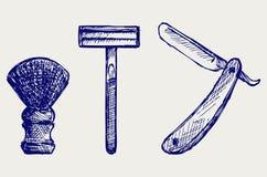 Rasoio diritto e spazzola di rasatura Fotografie Stock Libere da Diritti