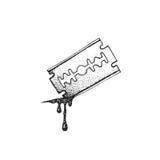Rasoio disegnato a mano della lama di vettore Fotografia Stock