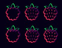 Rasp3. 3d raspberry neon tubed logo rounded.  Great for Poster, Sale Banner, Advertising. Isolated on dark blue background Royalty Free Stock Images