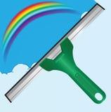 Raspador y un arco iris stock de ilustración