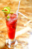 Raspberri mojito long glass Royalty Free Stock Photo