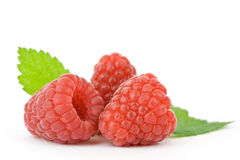 Raspberries. Beautiful raspberries on white background Stock Images