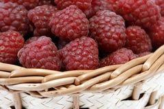 Raspberries. Red raspberries in the wicker basket Stock Photography