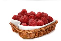 Raspberries. Raspberrie in the bowl in the form of heart Stock Photo