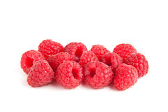 Raspberries. Several raspberries isolated on white Stock Photos