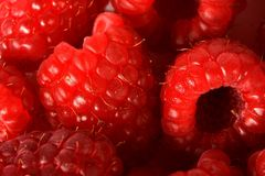 Raspberries. A group of raspberries close up, from above royalty free stock photos