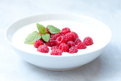 Raspberries. Bowl of yogurt with some fresh raspberries and mint on top Stock Images
